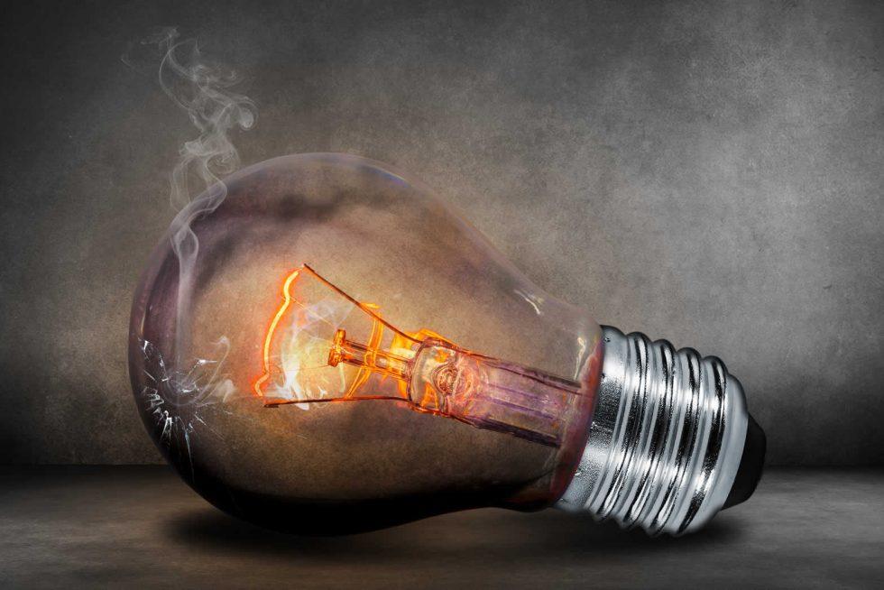 electrical maintenance - cracked lightbulb