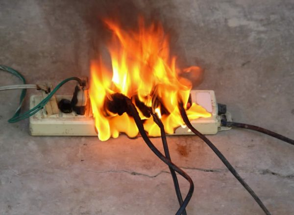 electrical emergency - trailing socket and plugs on fire
