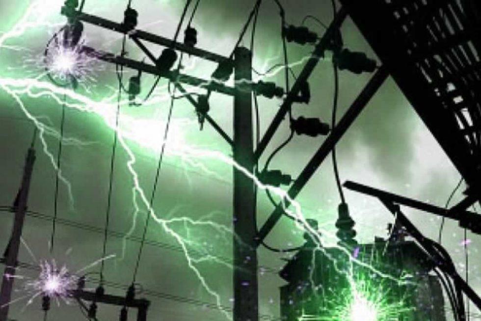 lightning strikes electricity pylon power cables