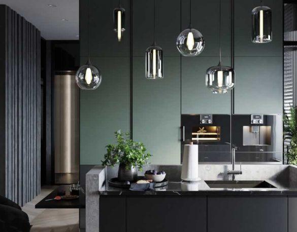 green-kitchen-electric-lighting